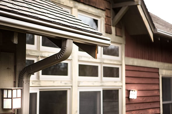 leaf guard gutters on house