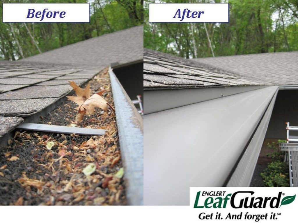 before and after with seamless gutter from leaf guard
